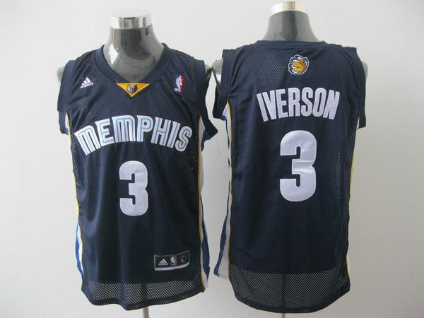 Grizzlies 3 Iverson Dark Blue Jerseys