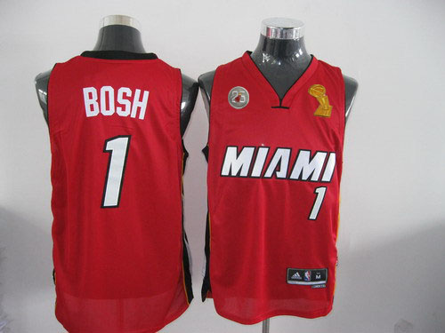 Heat 1 Bosh Red 2013 Champion&25th Patch Jerseys