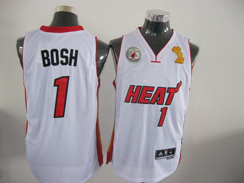 Heat 1 Bosh White 2013 Champion&25th Patch Jerseys