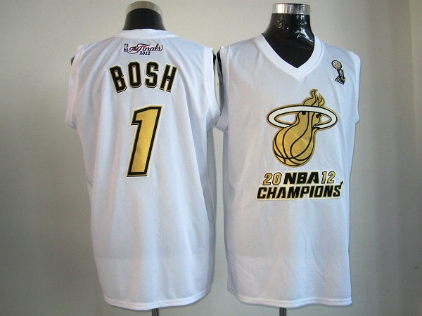 Heat 1 Bosh White Champions Jerseys