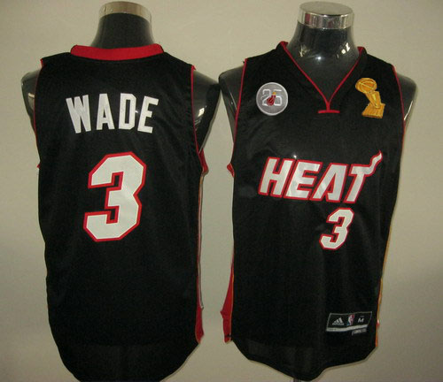 Heat 3 Wade Black 2013 Champion&25th Patch Jerseys