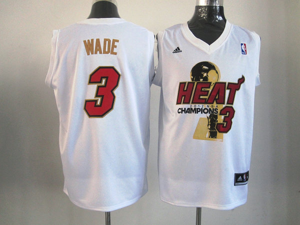 Heat 3 Wade White 2012 NBA Champions Jerseys