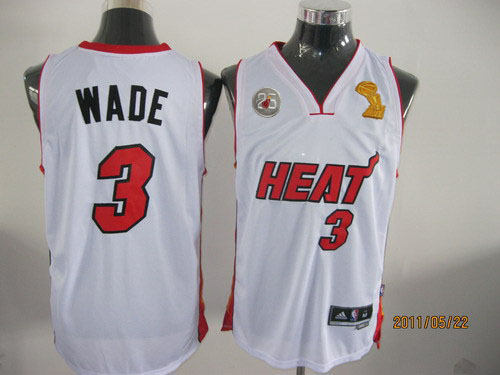 Heat 3 Wade White 2013 Champion&25th Patch Jerseys