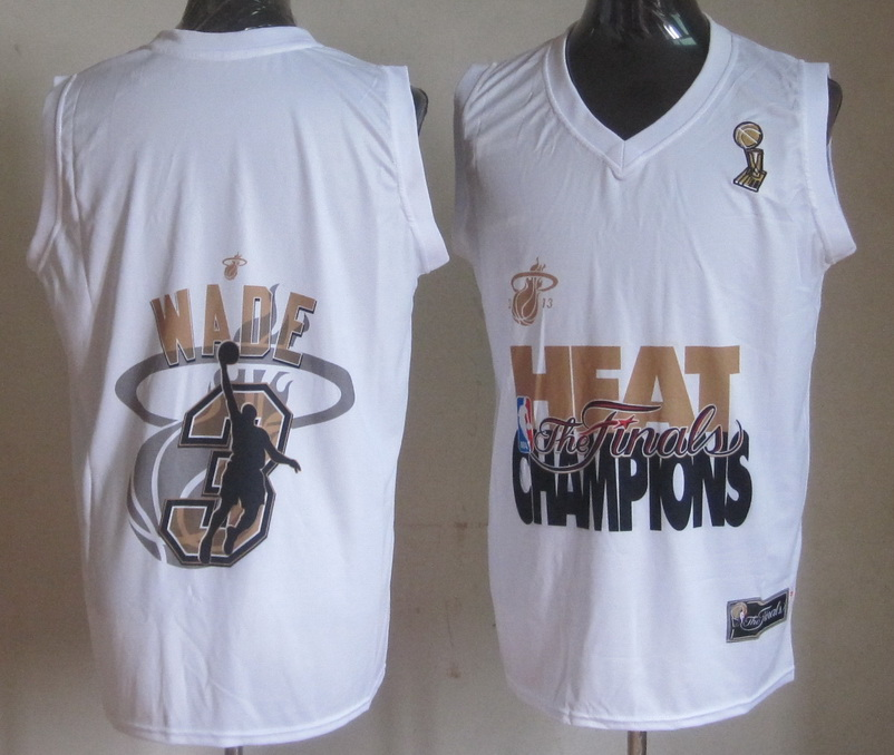 Heat 3 Wade White 2013 Champions Jerseys