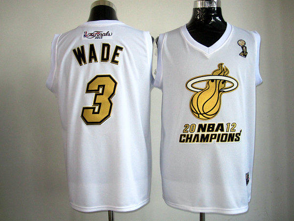 Heat 3 Wade White Champions Jerseys