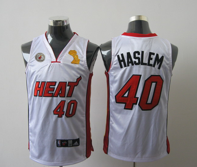 Heat 40 Haslem White 2013 Champion&25th Patch Jerseys