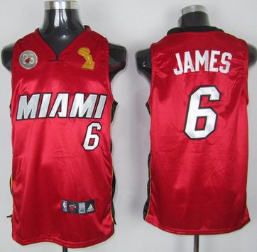 Heat 6 James Red 2013 Champion&25th Patch Jerseys