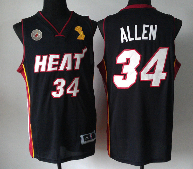 Heats 34 Allen Black 2013 Champion&25th Patch Jerseys