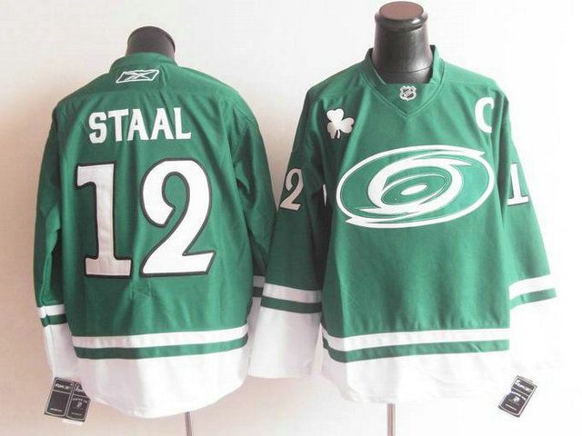 Hurricanes 12 Staal Green C Patch Jerseys