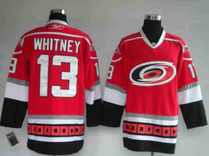 Hurricanes 13 Whitney red Jerseys