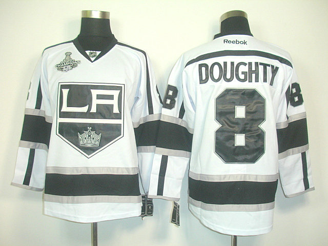 Kings 8 Doughty White Champions Patch Jerseys