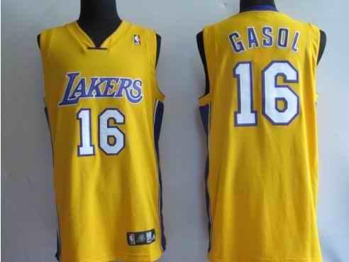 Lakers 16 Pau Gasol yellow Jerseys