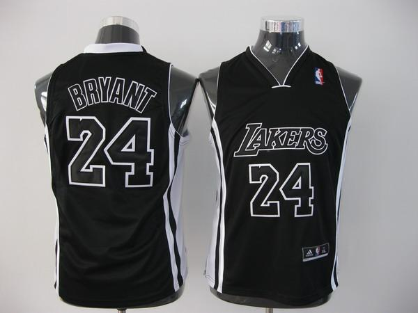 Lakers 24 Bryant Black-Black Youth Jersey