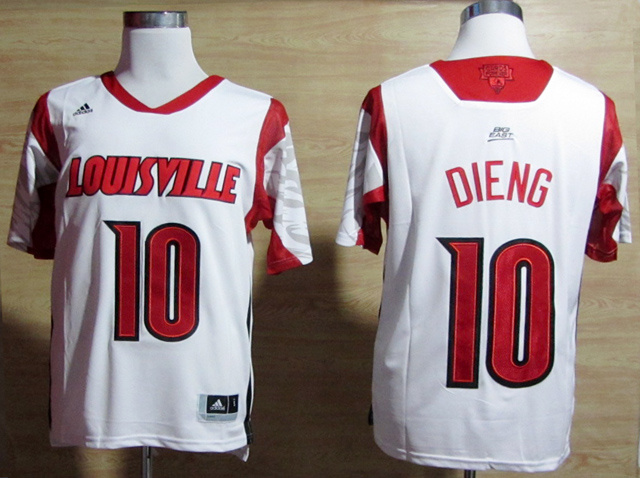 Louisville Cardinals 10 Dieng White Big East Jerseys