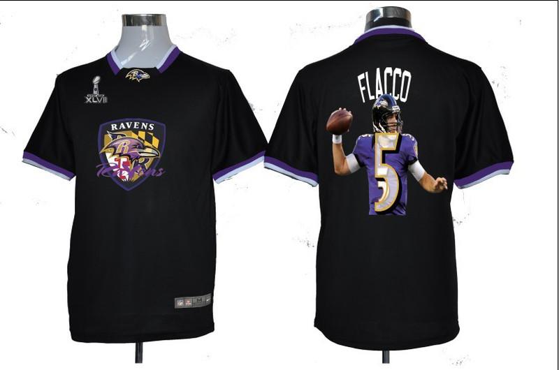 NIKE TEAM ALL-STAR Ravens 5 Flacco Black 2013 Super Bowl XLVII Jersey