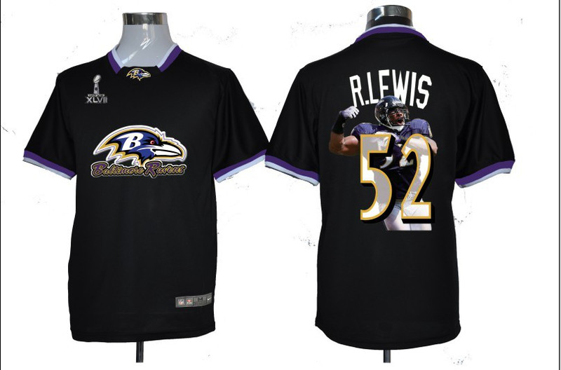 NIKE TEAM ALL-STAR Ravens 52 R.Lewis Black 2013 Super Bowl XLVII Jerseys