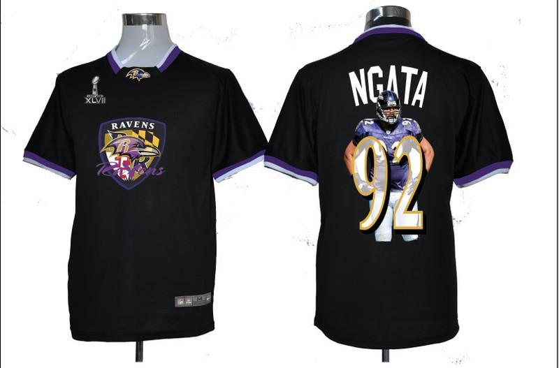 NIKE TEAM ALL-STAR Ravens 92 Ngata Black 2013 Super Bowl XLVII Jersey