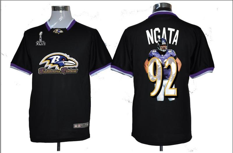 NIKE TEAM ALL-STAR Ravens 92 Ngata Black 2013 Super Bowl XLVII Jerseys