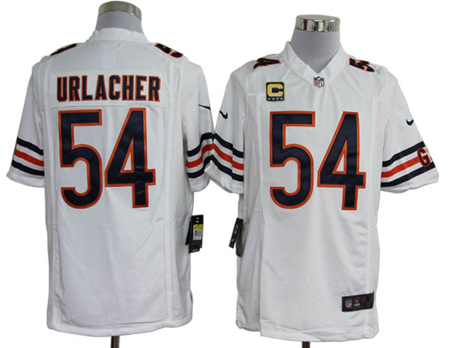 Nike Bears 54 Urlacher White Game C Patch Jerseys
