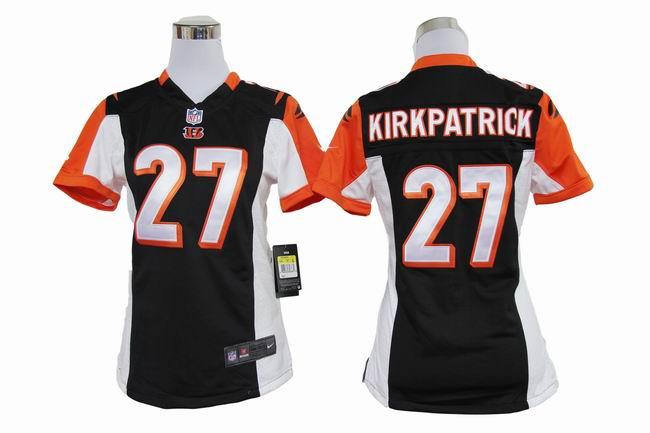 Nike Bengals 27 Kirkpatrick Black Game Women Jerseys