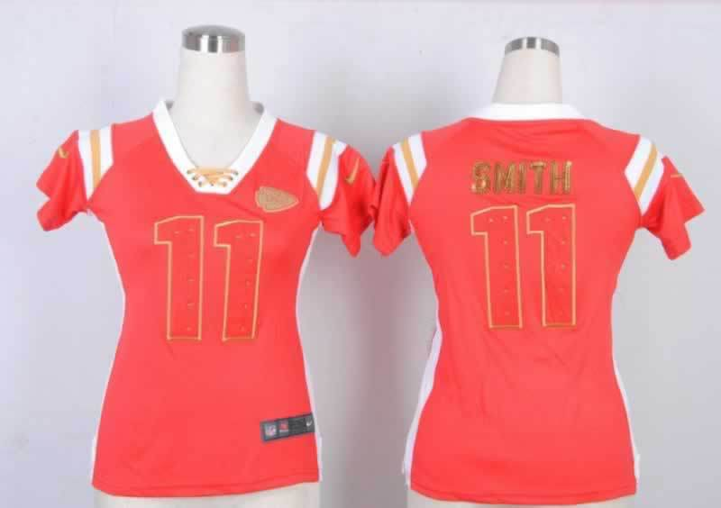 Nike Chiefs 11 Smith Red Women's Handwork Sequin lettering Fashion Jerseys