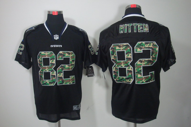 Nike Cowboys 82 Witten Camo Number Black Elite Jerseys