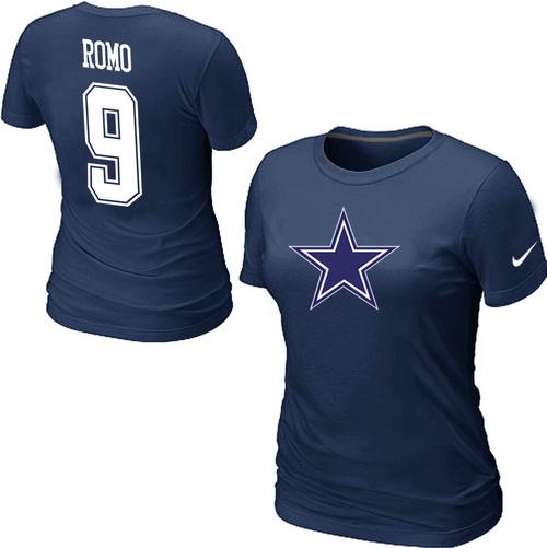 Nike Dallas Cowboys Tony Romo Name & Number Women's T-Shirt Blue