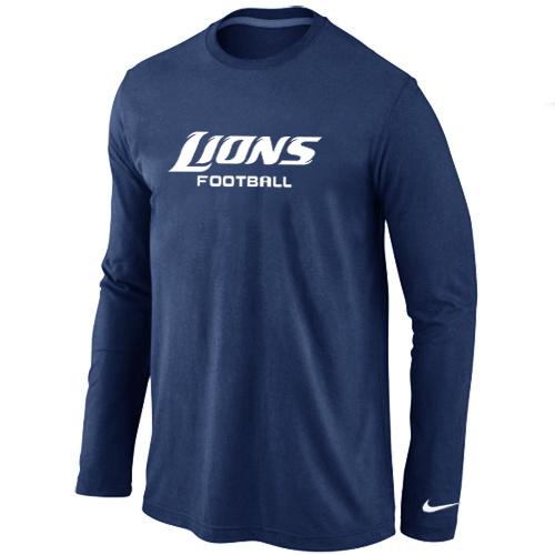 Nike Detroit Lions Authentic font Long Sleeve T-Shirt D.Blue