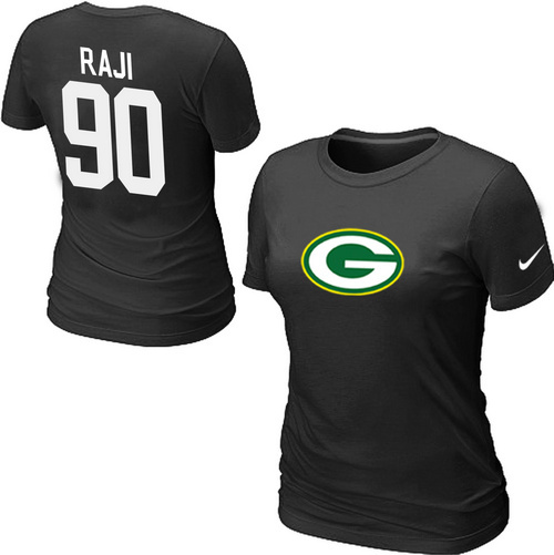 Nike Green Bay Packers 90 RAJI Name & Number Women's T-Shirt Black