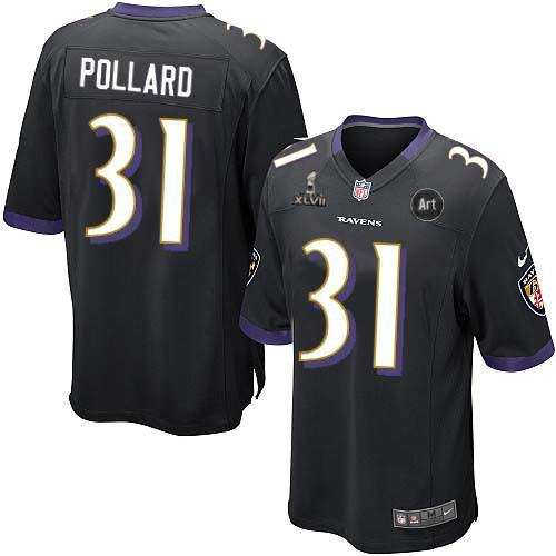 Nike Ravens 31 Pollard black Game 2013 Super Bowl XLVII and Art Jerseys