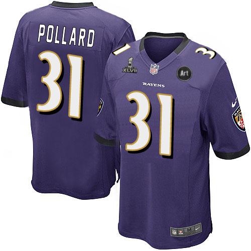Nike Ravens 31 Pollard purple Game 2013 Super Bowl XLVII and Art Jerseys
