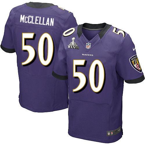 Nike Ravens 50 Albert McClellan Purple Elite 2013 Super Bowl XLVII Jersey