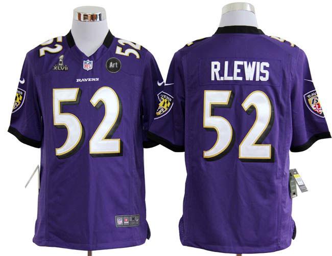 Nike Ravens 52 R.lewis purple Game 2013 Super Bowl XLVII and Art Jerseys