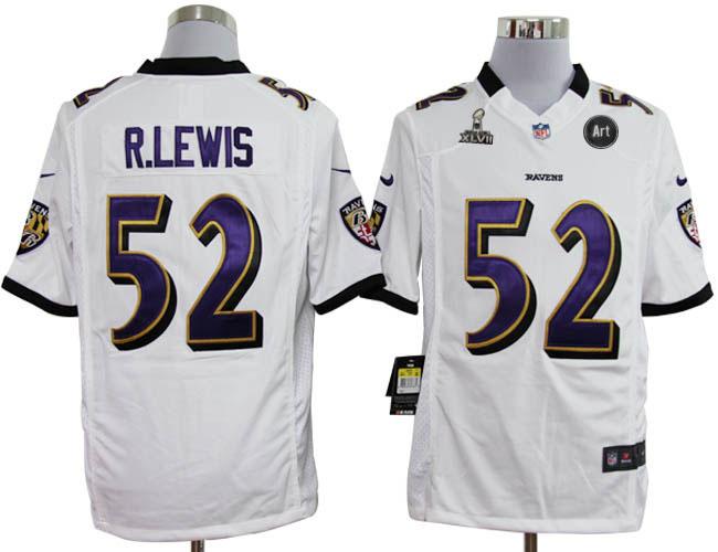 Nike Ravens 52 R.lewis white Game 2013 Super Bowl XLVII and Art Jerseys