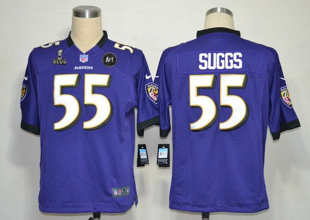Nike Ravens 55 Suggs purple Game 2013 Super Bowl XLVII and Art Jerseys