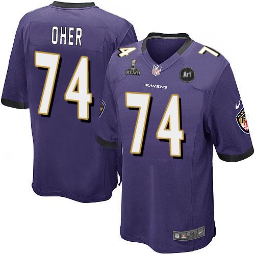 Nike Ravens 74 Oher purple Game 2013 Super Bowl XLVII and Art Jerseys