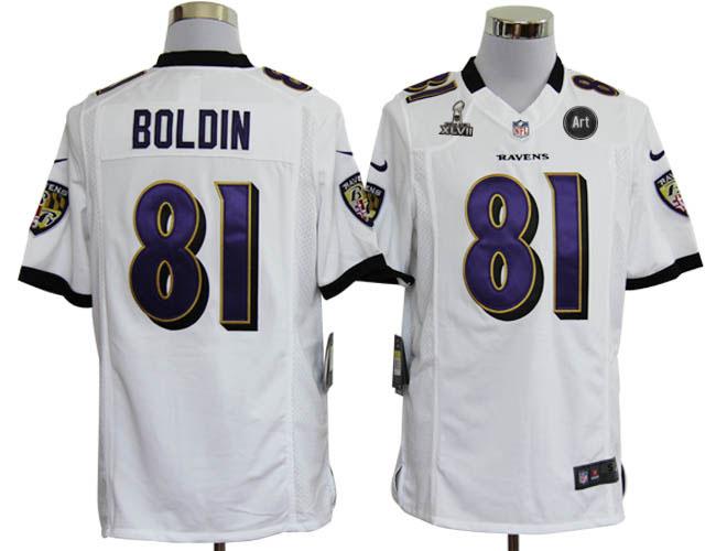 Nike Ravens 81 Boldon white Game 2013 Super Bowl XLVII and Art Jerseys