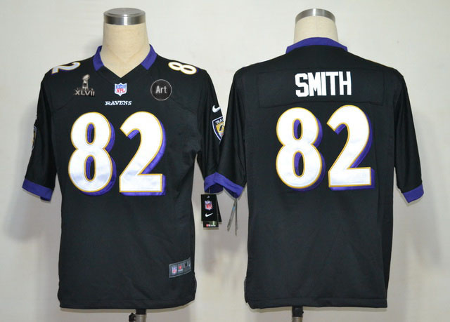Nike Ravens 82 Smith black Game 2013 Super Bowl XLVII and Art Jerseys