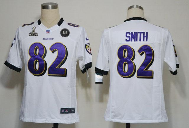 Nike Ravens 82 Smith white Game 2013 Super Bowl XLVII and Art Jerseys