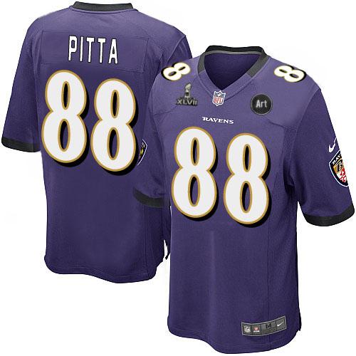 Nike Ravens 88 Pitta purple Game 2013 Super Bowl XLVII and Art Jerseys
