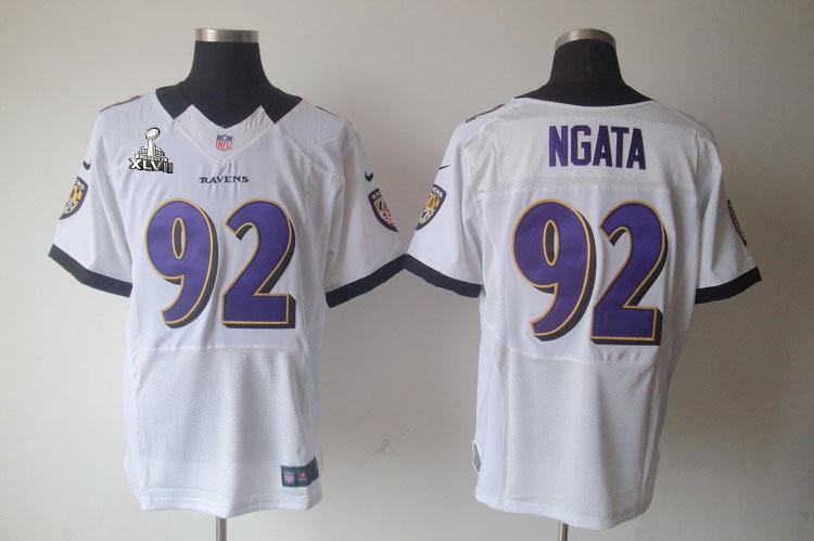 Nike Ravens 92 Ngata white Elite 2013 Super Bowl XLVII Jersey