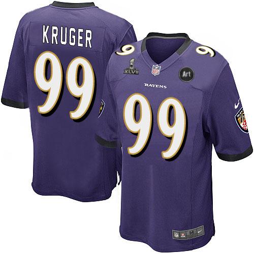 Nike Ravens 99 Kruger purple Game 2013 Super Bowl XLVII and Art Jerseys