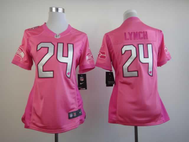 Nike Seahawks 24 lynch Pink Love's Women Jerseys