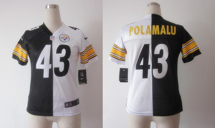Nike Steelers 43 Polamalu Black&White Women Split Elite Jerseys