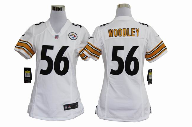 Nike Steelers 56 WOODLEY White Women Game Jerseys