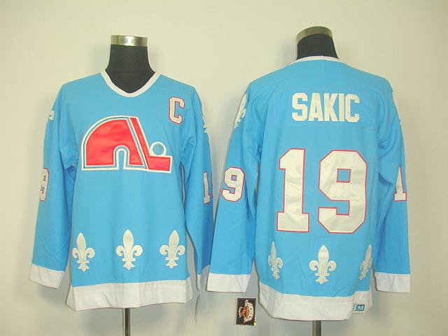 Nordiques 19 Sakic light blue Jersey