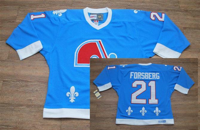 Nordiques 21 Foraberg Light Blue Jerseys