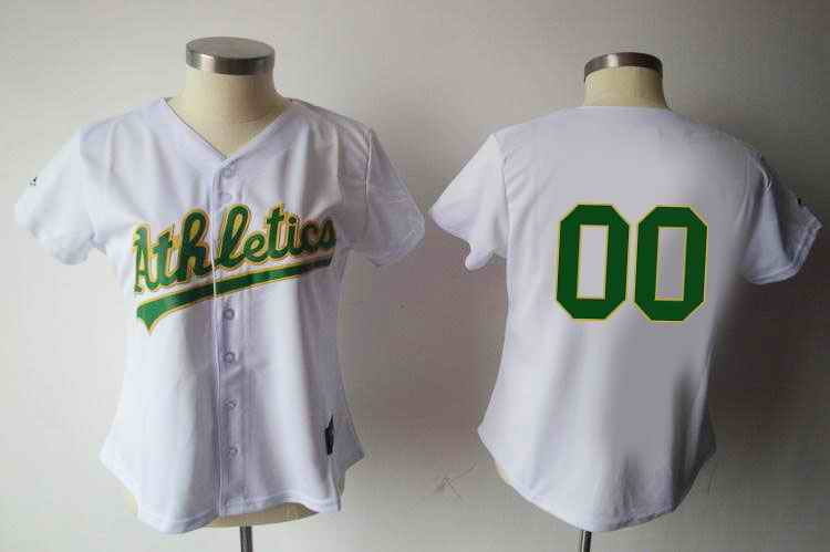 Oakland Athletics Blank White Women Custom Jerseys