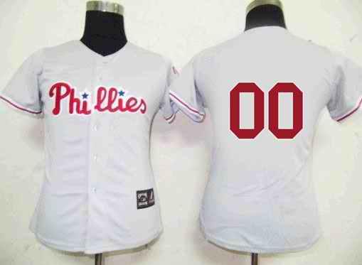Philadelphia Phillies Blank Grey Women Custom Jerseys