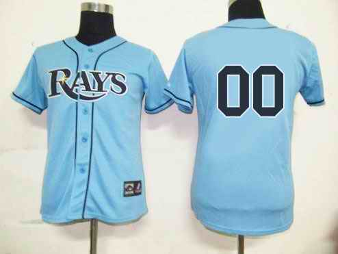 Tampa Bay Rays Blank Baby Blue Women Custom Jerseys